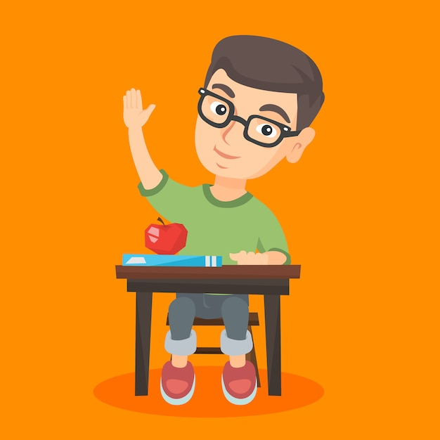 Schoolboy sitting at the desk with raised hand. Premium Vector