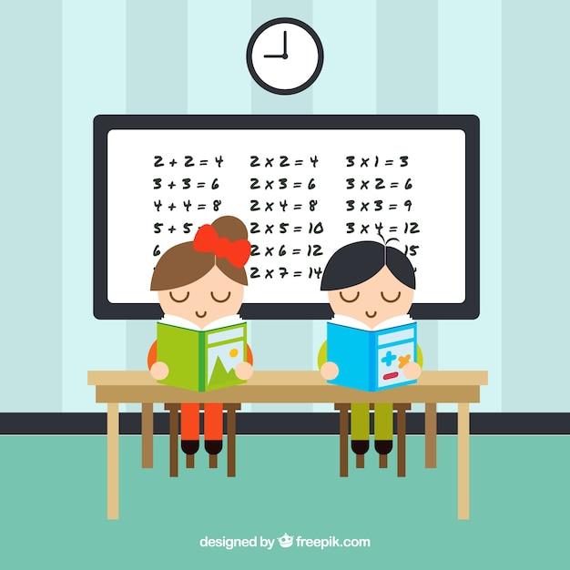Schoolchildren studying Free Vector