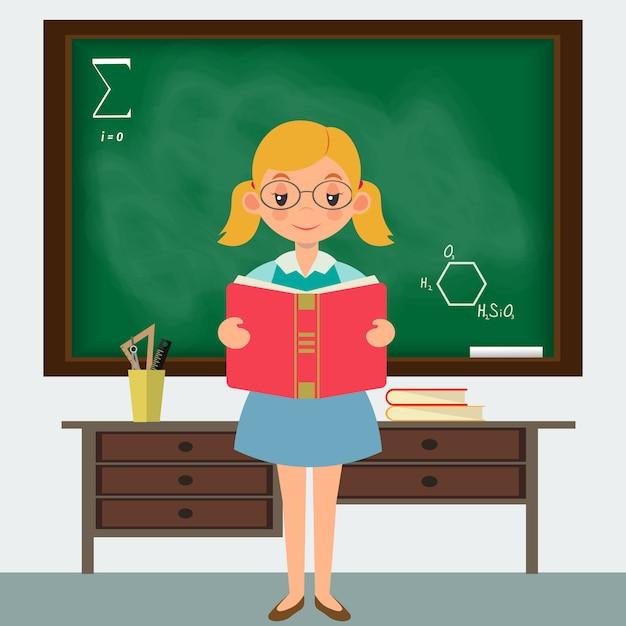 Schoolgirl in a classroom  standing at the blackboard Premium Vector