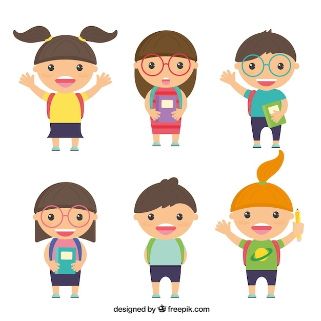 Schoolkid characters Free Vector