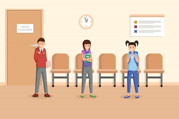 Schoolmates at break time illustration Premium Vector
