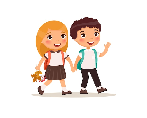 Schoolmates going to school flat vector illustration. couple pupils in uniform holding hands isolated cartoon characters. Free Vector