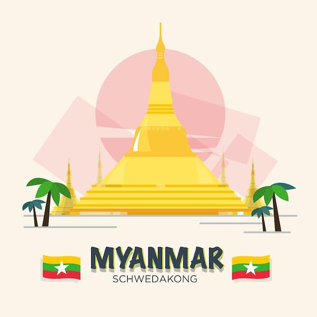 Schwedakong landmark of myanmar. asean set. Premium Vector