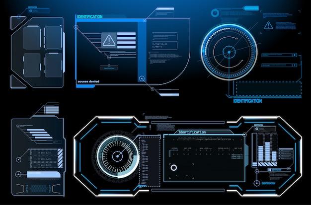 Sfコンセプトデザイン。正方形のフレームブロックは、hudインターフェイス要素を設定します。未来的な警告フレーム Premiumベクター