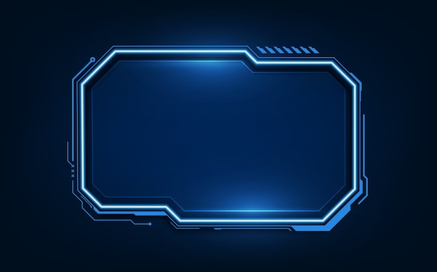 Sci fihudの最新の未来的なユーザーインターフェイスhudダッシュボードインターフェイスを備えたテクノロジーの背景。 Premiumベクター