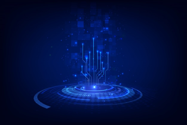 Абстрактная блокчейн sci fi круговой циферблат hud технология концепции фон. Premium векторы