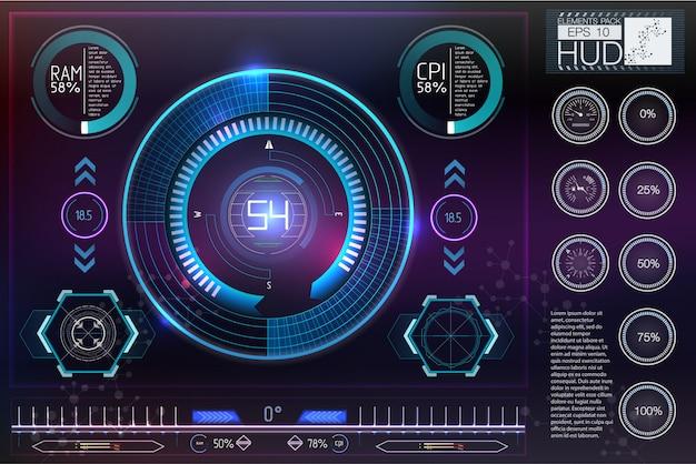 Sci-fiヘルメットhud。将来の技術ディスプレイデザイン。 Premiumベクター