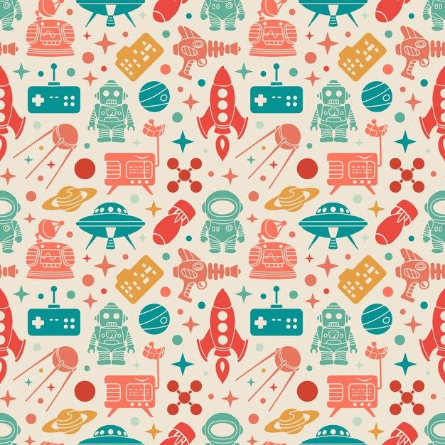 Sci-fi retro pattern. colorful objects Premium Vector