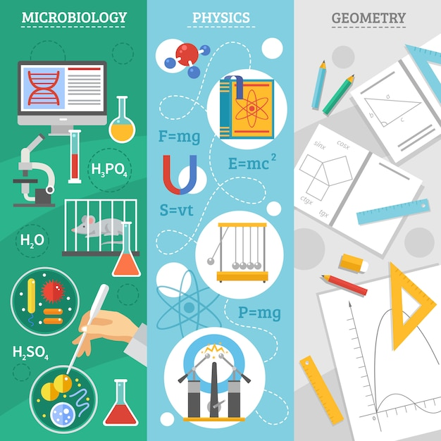 Science 3 flat banner set Free Vector