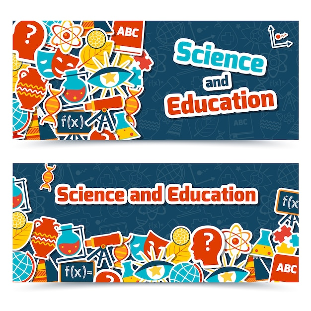 Science and education areas colored paper\ stickers set on blue background horizontal banner set isolated\ vector illustration