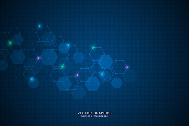 Science background with hexagons Premium Vector