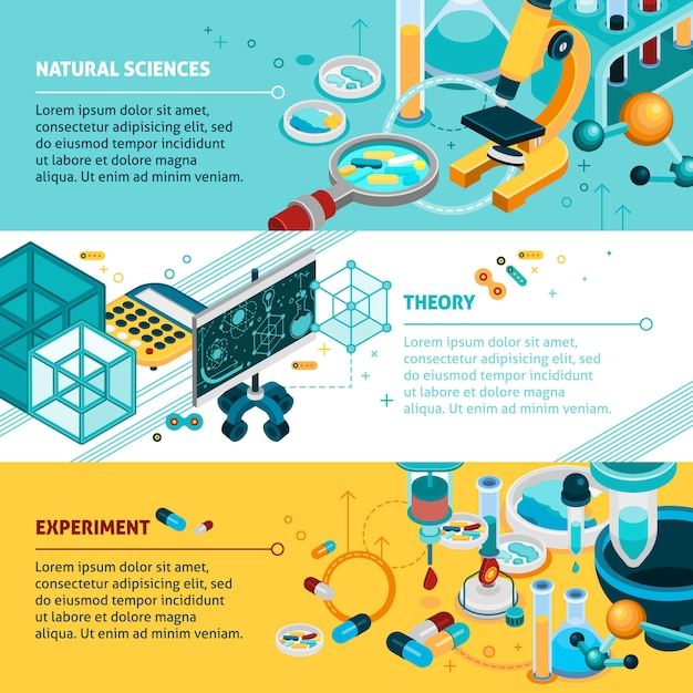 Science banners set Free Vector