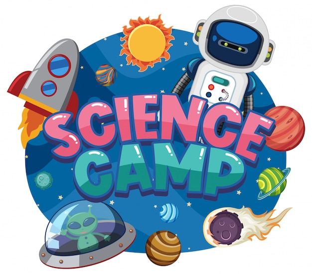 Science camp logo with space objects in the space Premium Vector