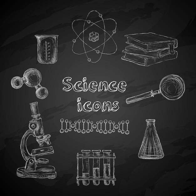 Science chalkboard elements Free Vector