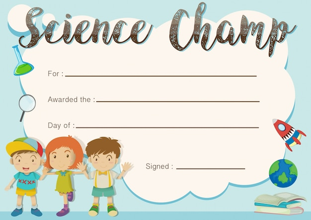 Science Champ Award Template With Kids In Background Free Vector  Free Award Templates