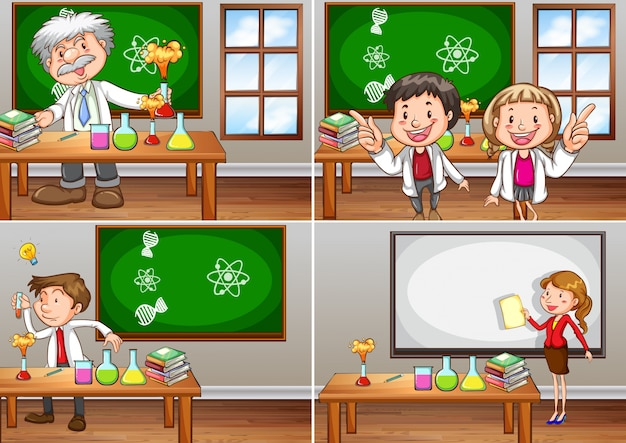 Science classrooms with teachers\ illustration