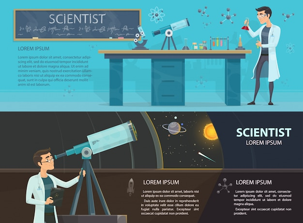 科学のカラフルな水平方向のバナー 無料ベクター