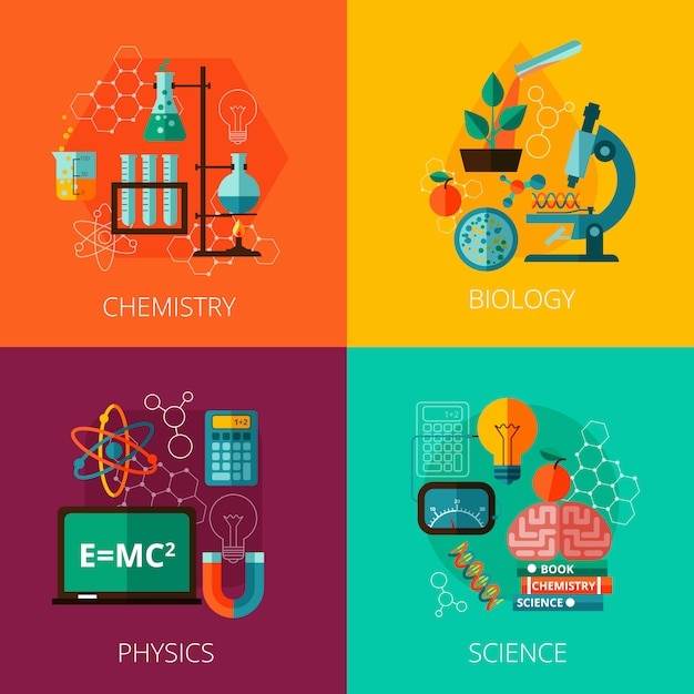 Science concept 4 flat icon composition icons Free Vector