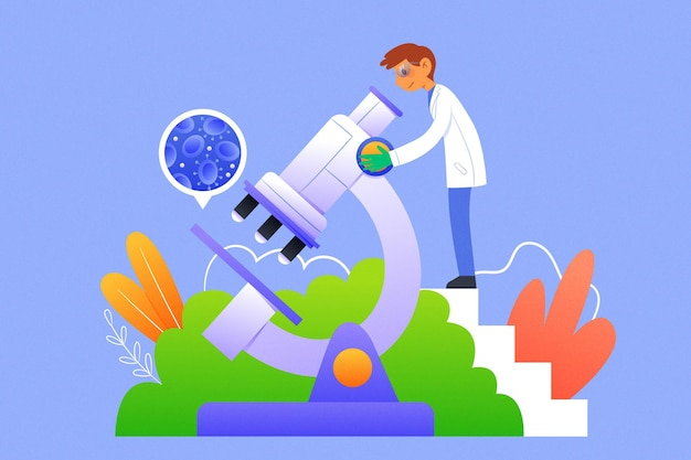 Science concept illustration with microscope Free Vector