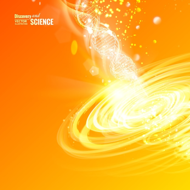 Science concept image of dna with energy tornado Free Vector