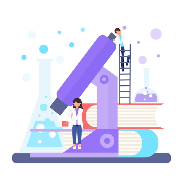 Science concept with microscope Free Vector