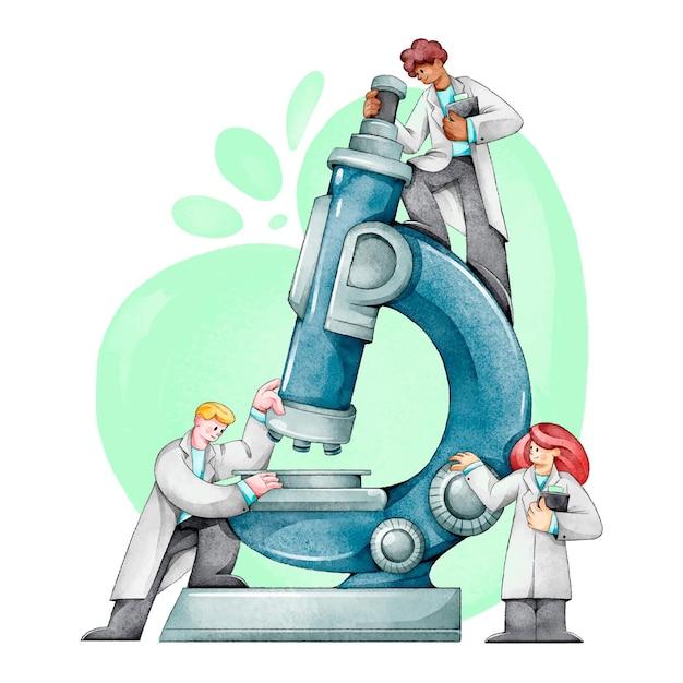 Научная концепция с микроскопом Бесплатные векторы