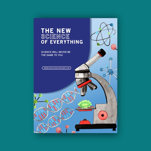 Science cover book design with microscope watercolor illustration. Free Vector