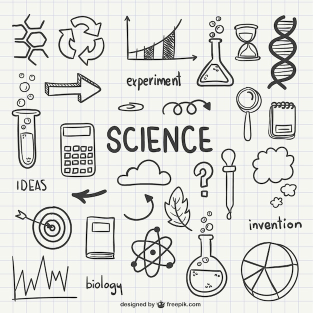 science drawn icons vector free download