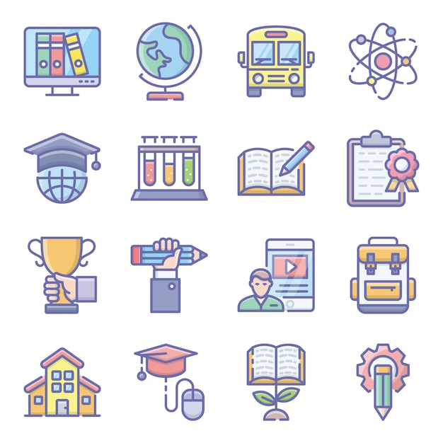 Science and education flat icons pack Premium Vector