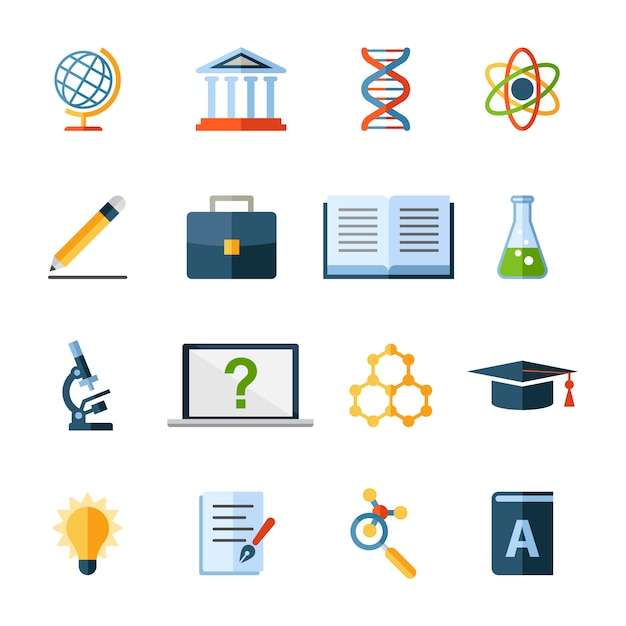 Science and education icons or elements Premium Vector