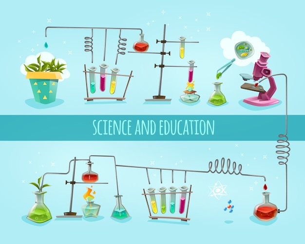 Science and education laboratory flat background Premium Vector