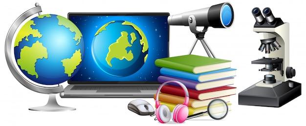 Educazione scientifica oggetti stile cartone animato Vettore gratuito