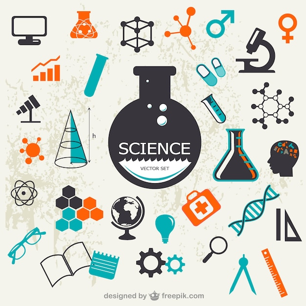 Science elements with test tubes and molecules Free Vector