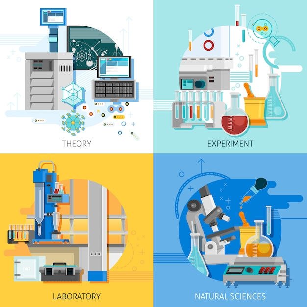 Science equipment card set Free Vector