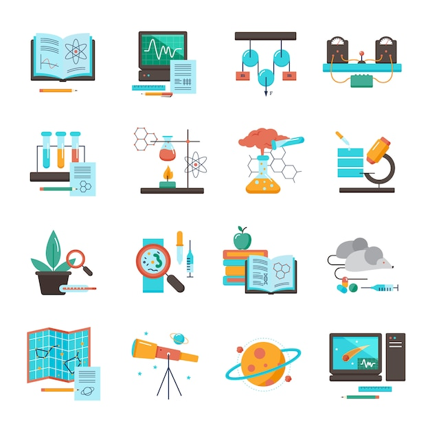 Science equipment icon set Free Vector