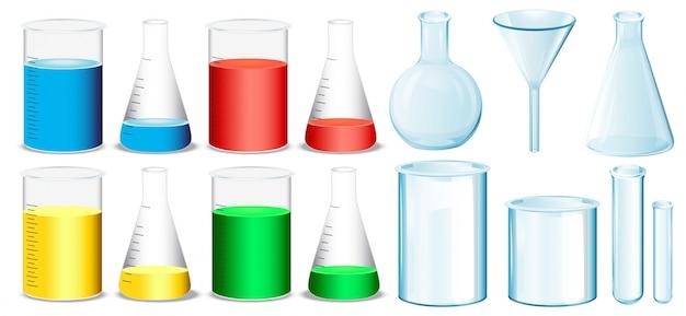 Attrezzatura scientifica con bicchieri e tubi illustrazione Vettore gratuito