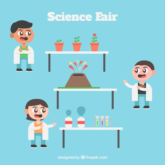 science exhibition with scientist kids vector premium download