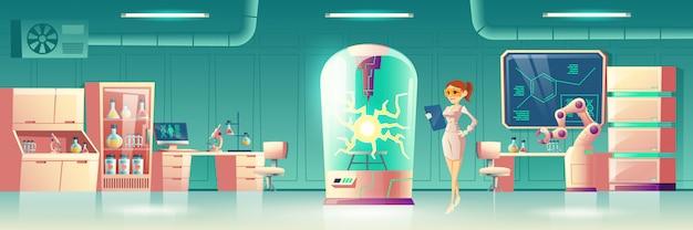 Science experiment in future laboratory Free Vector
