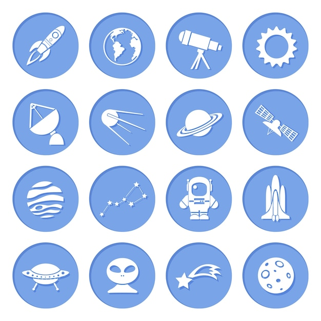 science fiction blue icons vector