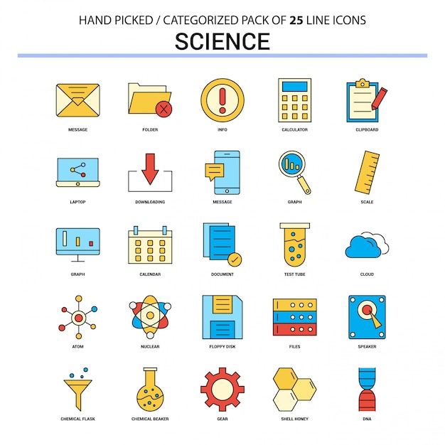 Science flat line icon set business concept icons design Free Vector