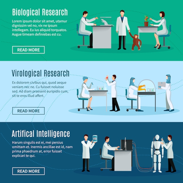 Science horizontal banners set with scientists making biological virological and artificial intellig Free Vector