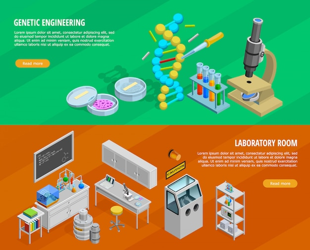 Science horizontal banners set Free Vector
