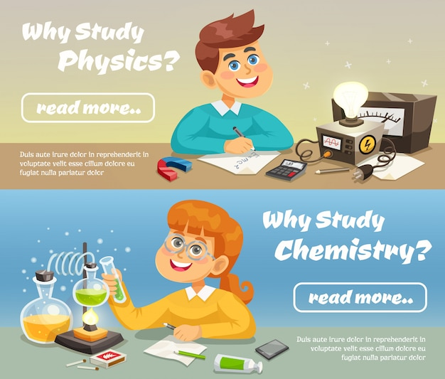 Science horizontal banners Free Vector