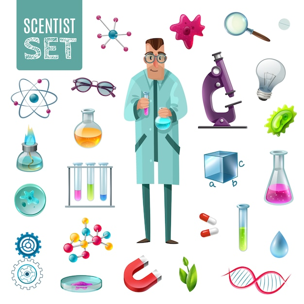 Science icons cartoon set Free Vector