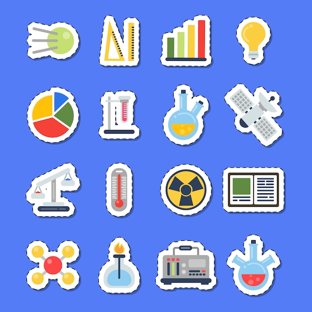 Science icons stickers with shadows set Premium Vector
