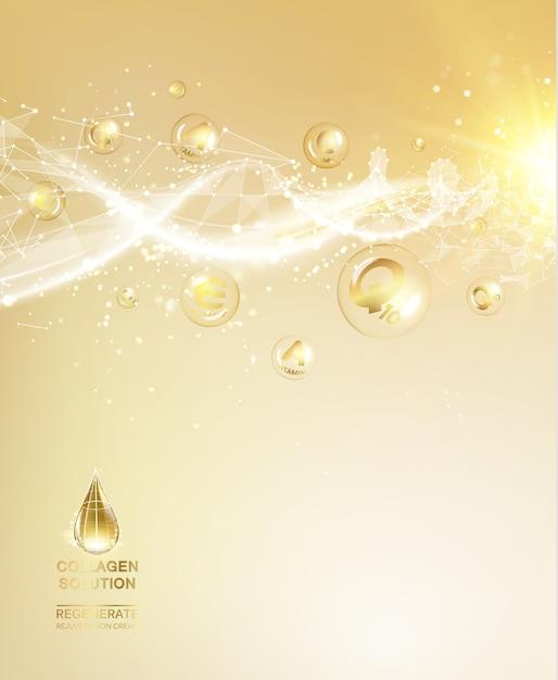 化粧品分子の科学イラスト 無料ベクター