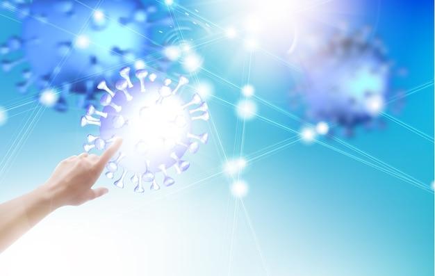 Illustrazione di scienza con mano umana che punta sul modello di coronavirus. Vettore gratuito