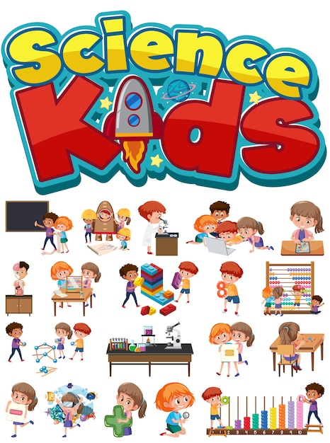 Science kids logo and set of children with education objects isolated Premium Vector