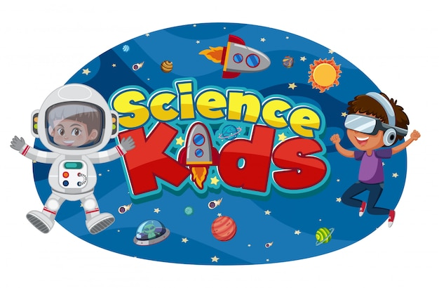 Science kids logo with astronauts and space objects Premium Vector