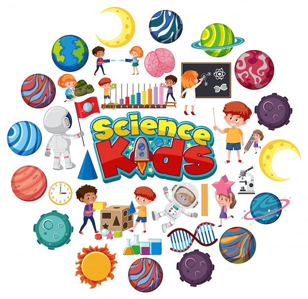 Science kids logo with many planets in circle shape Premium Vector